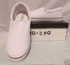 28215518764 NIB Men s WHITE CANVAS SKIPPIES SLIPON SNEAKER BOAT SHOES by Zig Zag ...