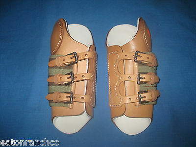 RANCHCo Equine  Leather Splint Boot Roller Buckle Sports Medicine Horse Size