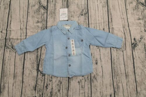 NEW Toddler Boys Washed Denim Cotton Woven Long Sleeves Shirt Top Size 12m-4yrs