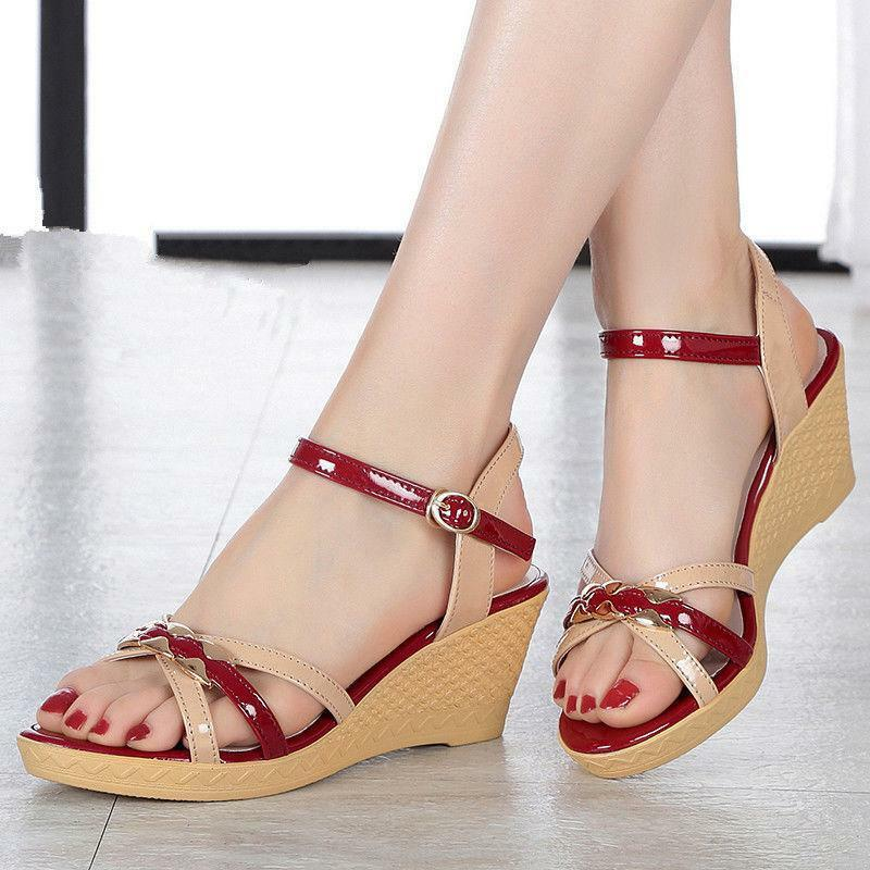 Shiny Lady Patent Leather Strappy Roman Wedge Heels Sandals Mixed color shoes 18