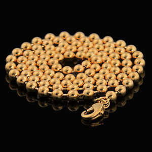 10K-Yellow-Gold-GF-Beaded-Chain-Mens-Womens-Ladies-Necklace-45cm-3mm-Round