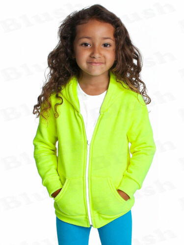 Kids Unisex Girls Boys Plain Hooded Fleece Hoody  Zipper Top Coat Years 2-13