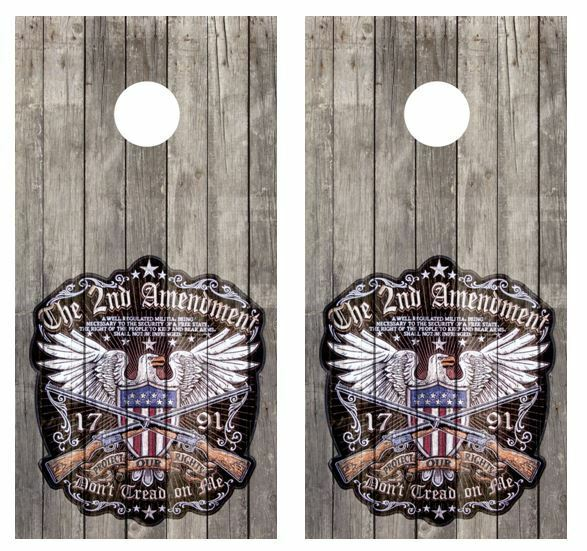 2nd Amendment Patch Barn Wood  Cornhole Board Decal Wraps FREE APP SQUEEGEE  various sizes