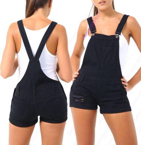 Womens Ripped Dungaree Shorts Denim Short Dungarees Size 8 10 12 14 16 Black