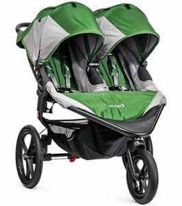 Baby-Jogger-Summit-X3-Twin-Double-All-Terrain-Jogging-Stroller-Green-Gray-NEW
