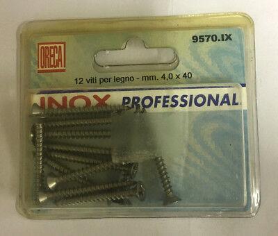 ORECA 12 viti per legno 4,0 x 40 mm codice 9570 in acciaio inox pronta consegna