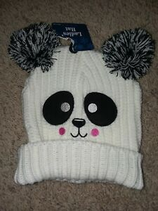 White Knitted Panda Bear Hat With PomPom Ears One Size