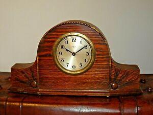 Antique-F-H-T-Art-Deco-Tiger-Oak-Mantel-Clock-with-Engraved-Sunburst-Design