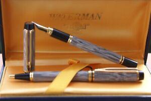 SPLENDIDE parure de stylos (plume 18 kts + bille) WATERMAN MAN 200 CAVIAR