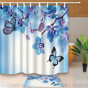 Image Is Loading Turquoise Butterfly Bathroom Shower Curtain Waterproof Fabric W