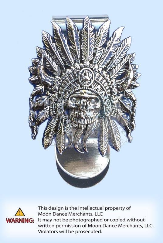 Western Concho Money Clip Indian Skull