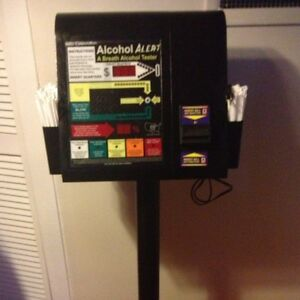 Details about ALCOHOL ALERT DOLLAR/COIN OPERATED BREATHALYZER MACHINE WITH  STAND VENDING