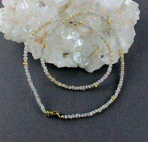 Rohdiamant Chain Gemstone White Diamond Natural Gold Plated 925 Silver 18 1/8in