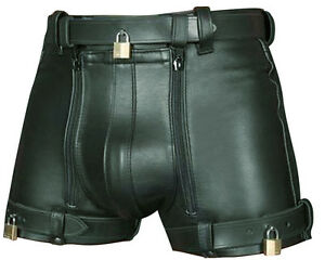 MENS-REAL-COWHIDE-LEATHER-CHASTITY-SHORTS-WITH-FREE-4-PADLOCKS