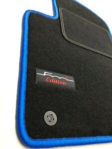 Fiat-500-500-Cabrio-ab-Bj-2013-Velours-Fussmatten-4-teilig-Logo-kett-Blau
