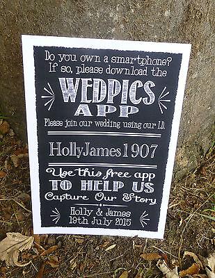 PERSONALISED wedpics app wedding print SIGN chalkboard vintage style PHOTO