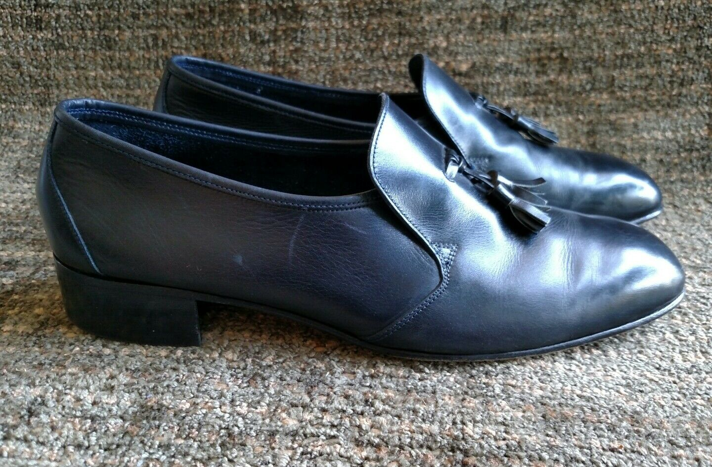 Bally Continental Gerald black leather tassel loafers size 9 M
