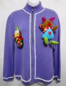 image is loading ugly christmas sweater womens m nordstrom lavender zip - Nordstrom Christmas Sweaters