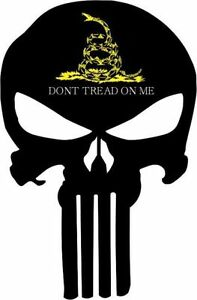 punisher skull black with yellow white don t tread me decal