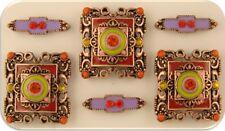 2 Hole Beads Orange Lavender Lime Enamel & Crystal Squares +Spacers Slider QTY 6