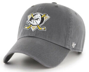 ANAHEIM MIGHTY DUCKS NHL VINTAGE GRAY UNSTRUCTURED DAD CAP HAT NEW! CLEAN UP '47