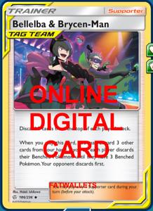 4X Bellelba /& Brycen-Man 186//236 Cosmic Eclipse Pokemon Online Digital Card
