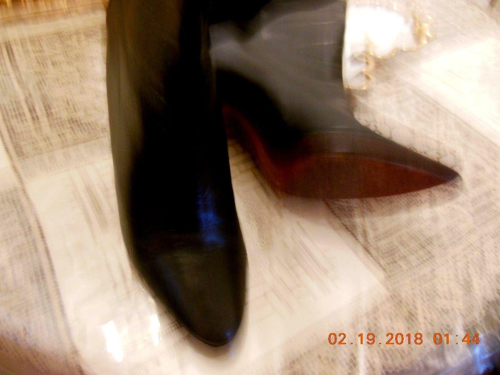 Italian schwarz Stiefel by Biondini leather patent leather and suede suede suede Größe 8M d978a4