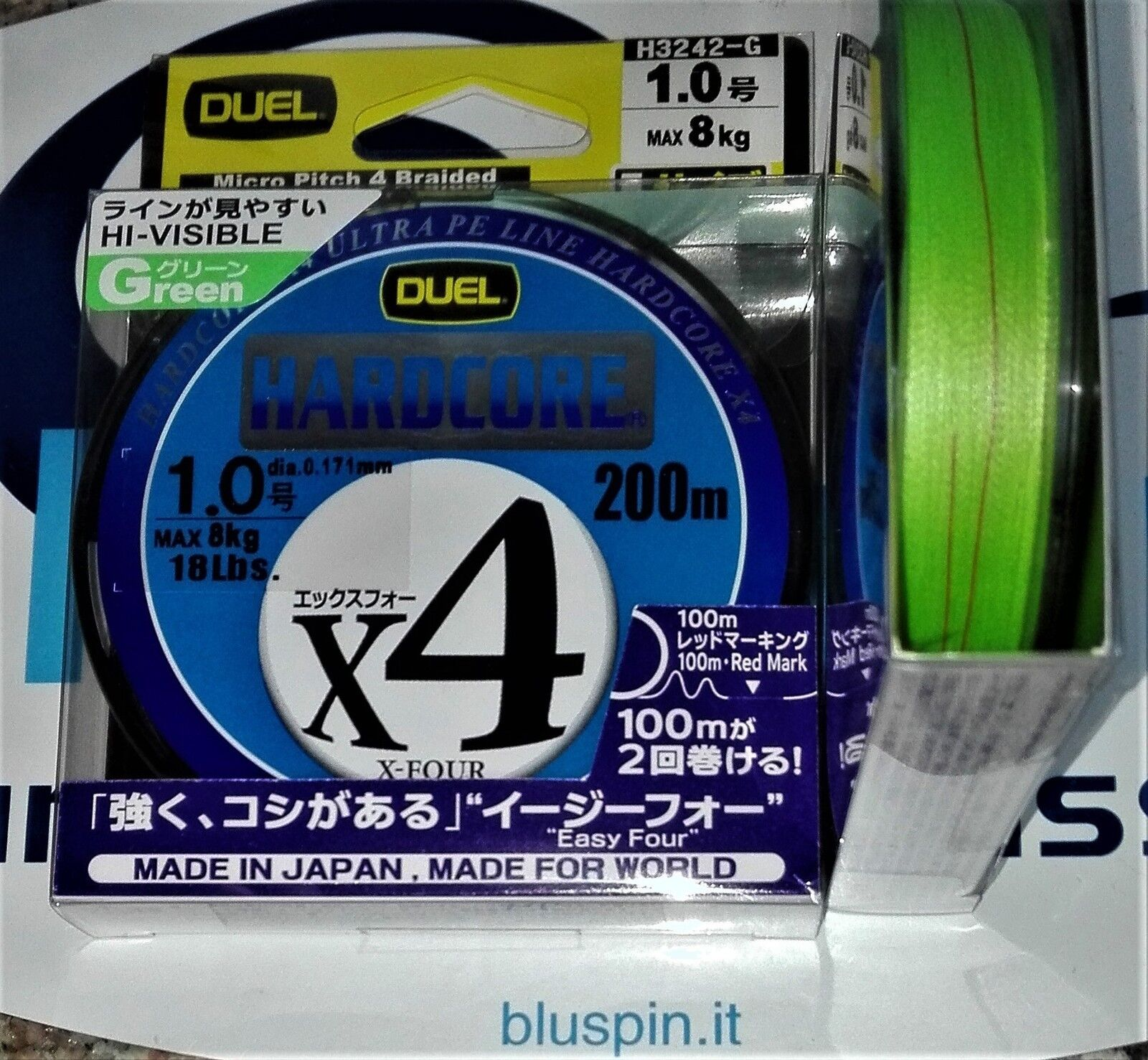 NEW DUEL HARDCORE X4 ULTRA PE LINE 200m 1.0 - 18LB COLOR  GREEN MADE IN JAPAN