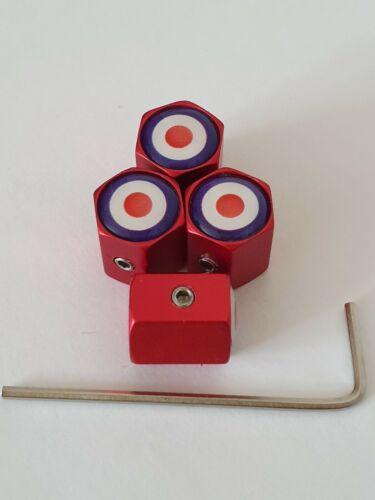 RAF Mod Target di bloccaggio della ruota della Valvola Polvere Tappi tutti i modelli opaco rosso altri colori
