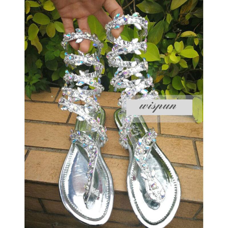 Womens Ladies Bohemia Flat Knee Knee Knee High Gladiator Sandals Beach Cut Out Boots Size 86b3b1