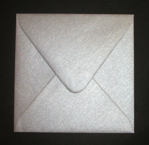 """5/"""" x 5/"""" Square Silver Pearlised Envelopes 130mm x 130mm"""