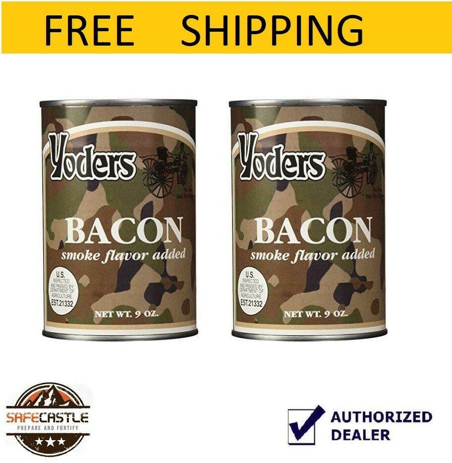 New Yoders Bacon 2 Cans 9 oz Ready to Eat Long Term Survival Food outdoor food