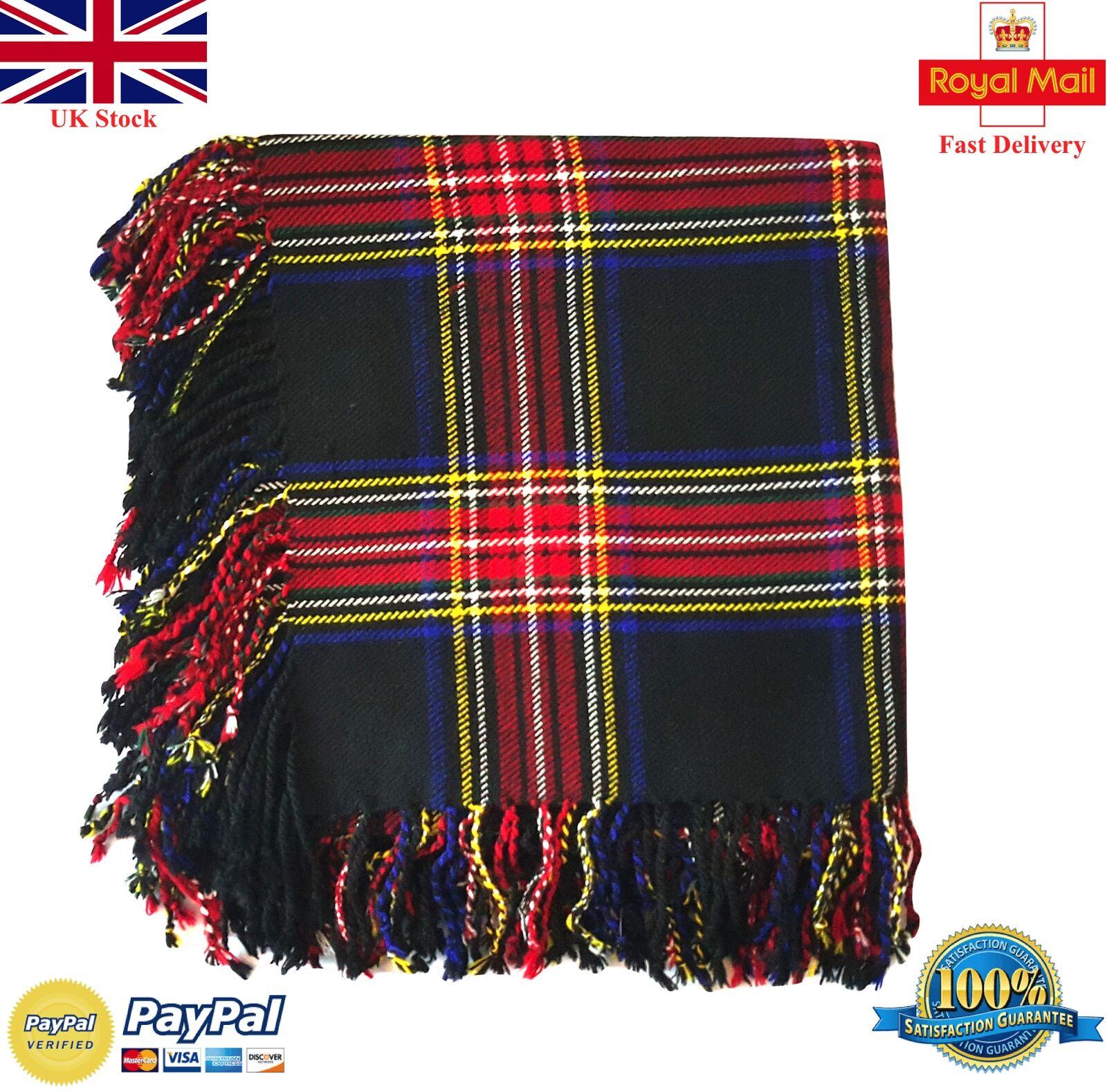 HS Scottish Kilt Fly Plaid Black Stewart Tartan 48