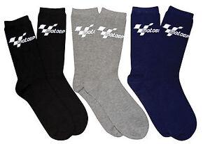 Black,Blue,Grey 3 Pack Official MotoGP Adult Everyday Cotton Blend Socks