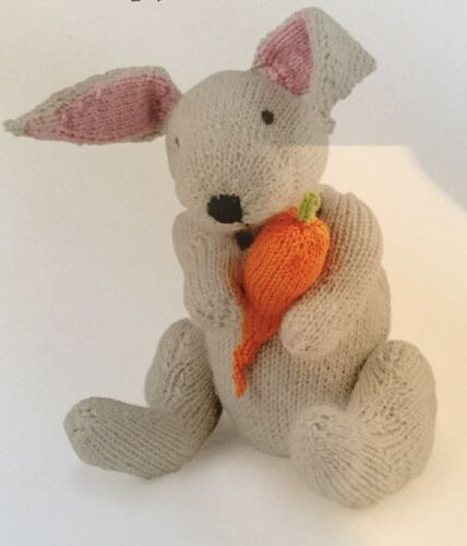 """Printed Knitting Pattern For Rabbit Animal Toy 9.5/"""" in height"""