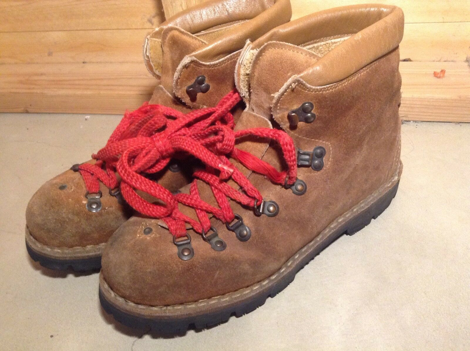 VINTAGE ITALY Made Outdoor Mountaineering Leather Stiefel US Größe 10 D