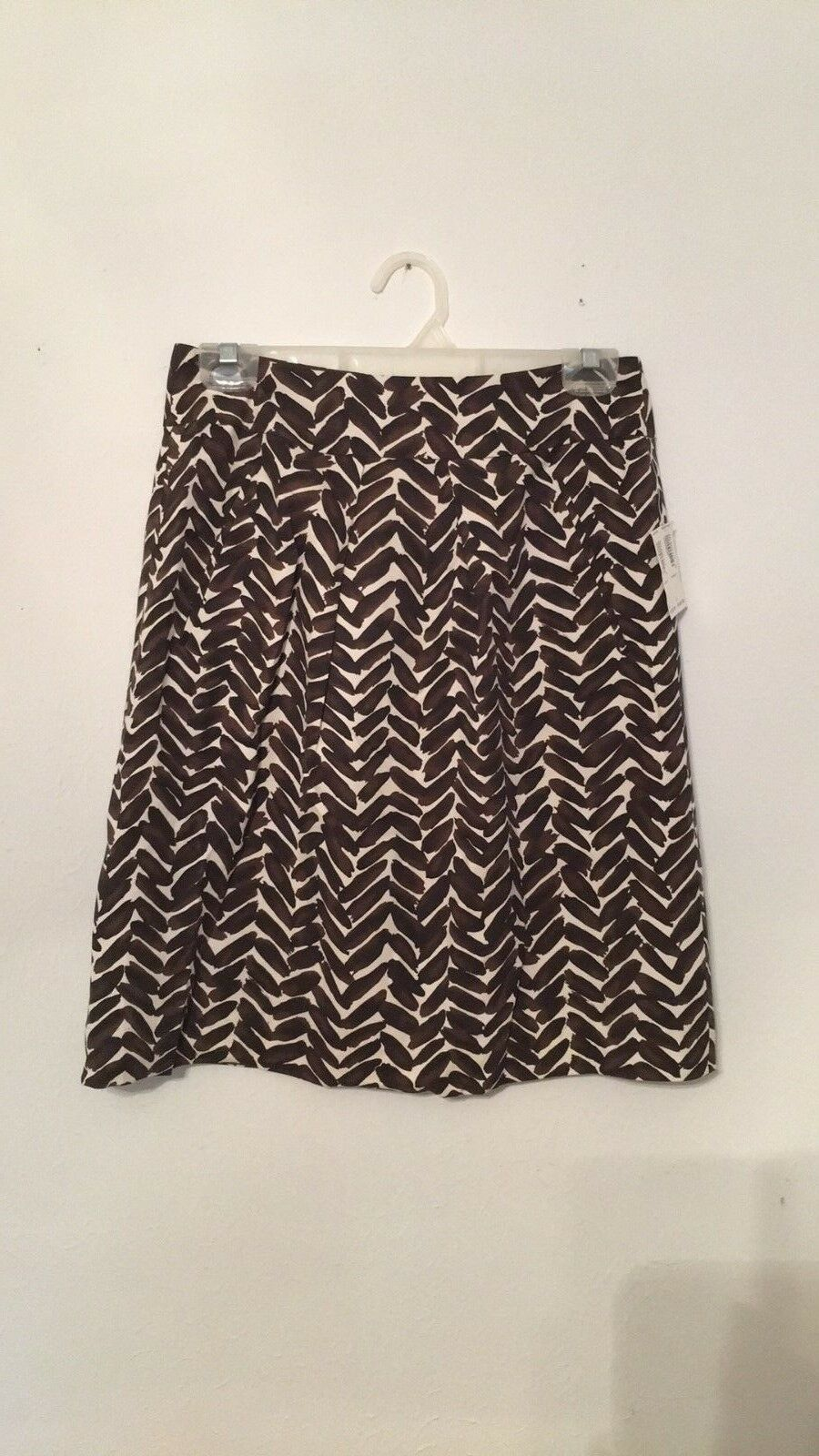 Harold's Silk Skirt Brown Ivory NWT Size 2 Retail
