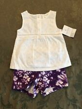 NWT Carters Baby Girl 4p Set BODYSUIT//Creeper Tops Classic Floral Purple//Blue//Gr