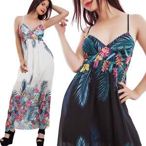 889a0db3b903 Caricamento dell immagine in corso Vestito-donna-abito-lungo-fantasia -floreale-velato-scollato-