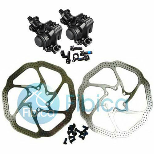 New Shimano BR-M375 Mechanical Disc Brake Calipers set with Avid HS1 redor 160mm
