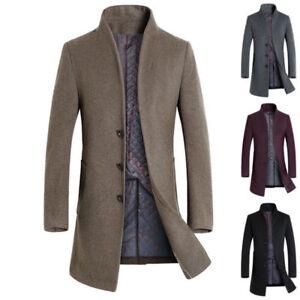 c83e9238943c Men s Winter Wool Woolen Blend Parka Warm Peacoat Slim Fit Coats ...