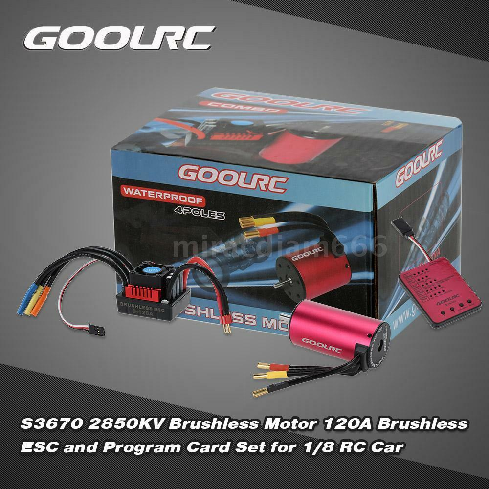 GoolRC S3670 2850KV Motor +120A ESC and Program Card Combo Set for RC Car O8N1
