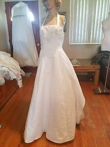 wedding dress size 12 halter top no train crinilin back satin front ...