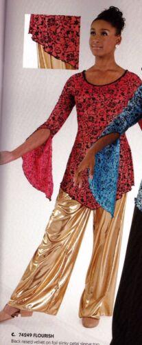 FOIL Wide Leg Pants Praise Liturgical Ladies sizes Gold or Silver Metallic