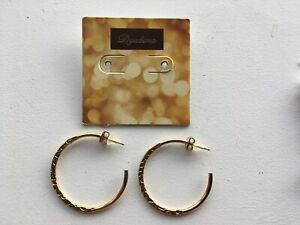 Details About 14kt Gold Plated Sterling Silver Hoop Earrings