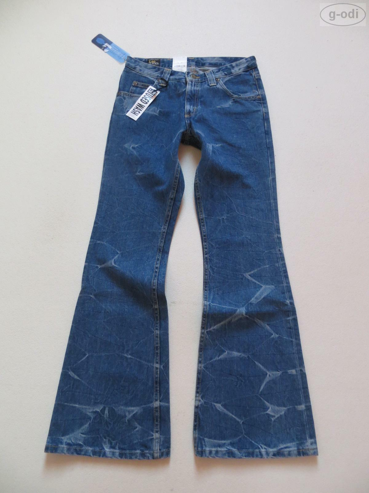 Lee Felton Schlag Jeans Hose W 28  L 32, NEU   Hippie Flared, Batik Wash Denim