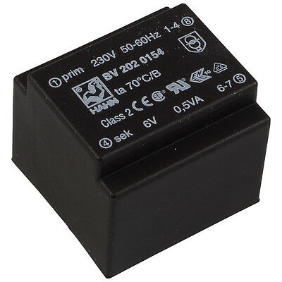HAHN Miniatur-Printtrafo   0,5VA 230V 6V 83mA