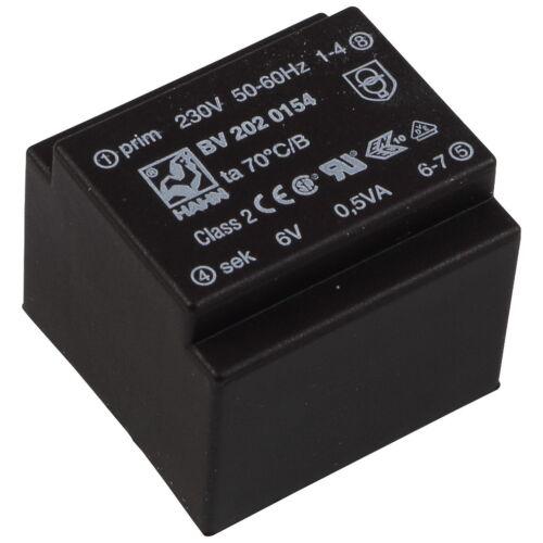 HAHN BV2020154 Trafo 230V Printtrafo 0,5VA 6V 83mA Transformator 855848