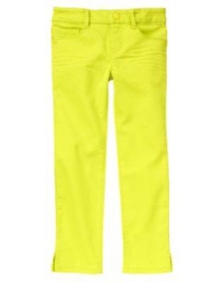 Gymboree Bright Ideas Neon Yellow Skinny Jeans Size 6 10 New
