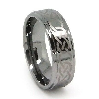 Men's Tungsten Wedding Ring, Polished Laser-Etched Celtic Knot,  8MM for Him!